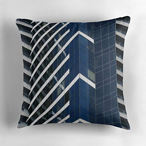 Melbourne Patterns on The Eureka Tower Square Cotton Cushion Cover Throw Pillow Case Slipover Pillowslip for Home Sofa Couch Chair Back Seat 18x18 Inch ()