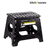Folding Step Stool With Handle -11 Inch - Heavy Duty - Safe Non Slip Surface For Kids And Adults - Super Handy Saves Space For Work And Home - Super Strong Holds Up To 300 Pounds - By Kitch N' Wares