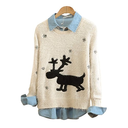Christmas Sweater with Reindeer and Snowflakes - Black or Beige