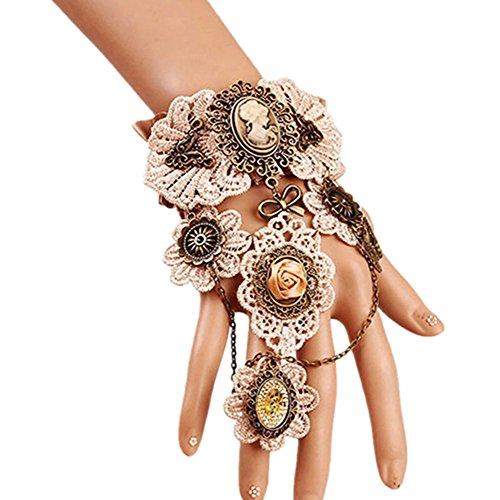 MEiySH Gothic Lolita Retro Steampunk Gear Lace Slave Bracelet Wristband Black Flower Ring (Bracelet 5)