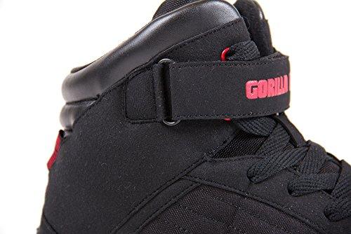 Gorila Wear El tacón alto de culturismo Tops Negro y Rojo negro