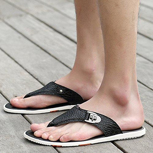 H&W Herren Strand Outdoor Leder Flip Flops mit Krokodilmuster Schwarz