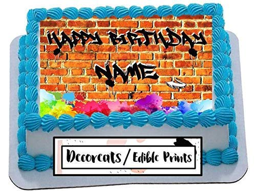 Astonishing Amazon Com Graffiti Cake Topper Happy Birthday Icing Sheet Funny Birthday Cards Online Alyptdamsfinfo