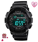 Mens Black Digital Sport Watch - Digital Watch Sport Silicone Watch for Men for Teen for Boys with Dual Time, Stopwatch, Alarm, 165 FT Waterproof