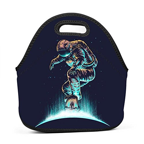 (Spaceman Sliding Plate Lunch Bag Bento Pouch Lunchbox Portable Baby Bag Multi-purpose Satchel Handbag for Outdoor Tour School Office Picnic)