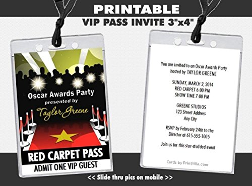 Oscar Awards Red Carpet Paparazzi Party VIP Pass Invitation, -