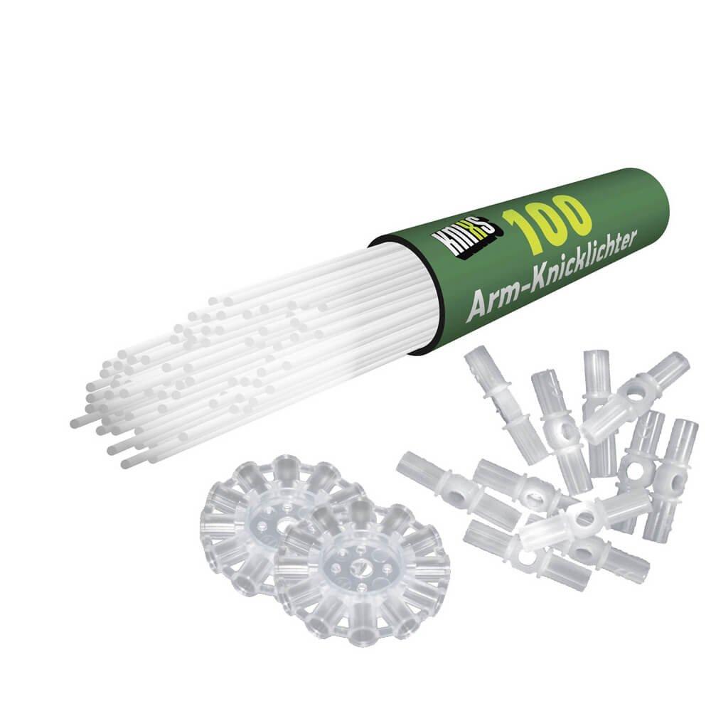 3D-Verbinder Gletscherwei/ß intensiv Leuchtend Einheiten gletschwerwei/ß 100 St/ück 20 x 0.5 cm Kreisverbinder und Lochverbinder Kunststoff KNIXS Arm-Knicklichter inkl