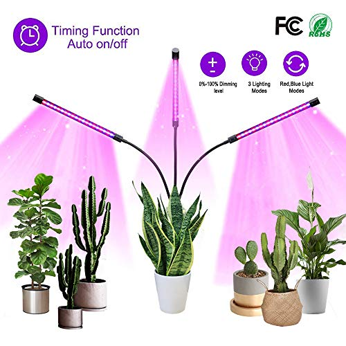 Plant Grow Light for Indoor Plants, 60 LEDs with Blue&Red Spectrum Light, 3 Spectral Modes Auto On/Off Timing Grow Lamp,15 Levels of Lightness Adjustment, Adjustable 3 Head 360°Flexible Gooseneck