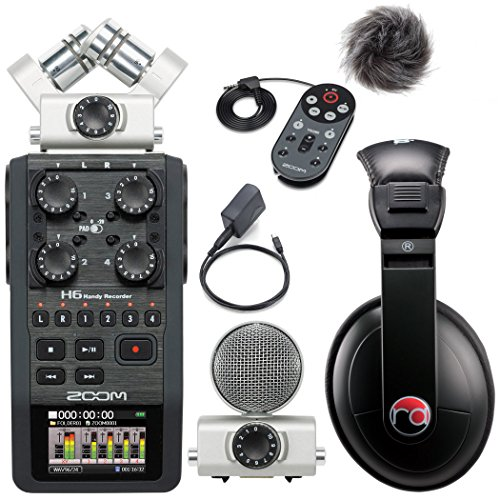 Zoom H6 Six-Track Portable Recorder w/ Accessory Pack & Resident Audio R100 Headphones - Bundle by Zoom