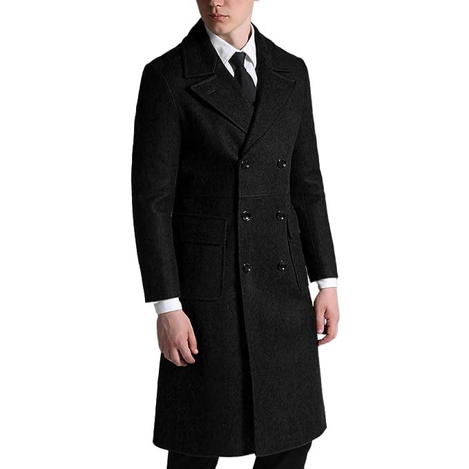 Giacca Invernale in Lana da Uomo Slim Fit Cappotto Doppiopetto  Scaldamuscoli Cappotto Lungo Giacca da Uomo a8ba8b04fb6