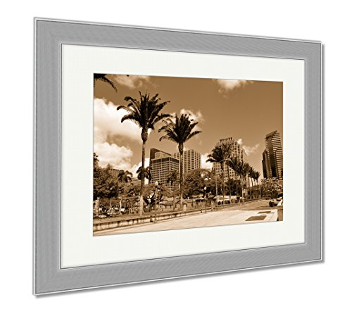Ashley Framed Prints Honolulu Skyline, Wall Art Home Decoration, Sepia, 34x40 (frame size), Silver Frame, - Oahu Marketplace