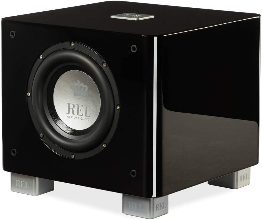 REL Acoustics T/7x Subwoofer, 8 inch Front-Firing Driver, Arrow Wireless Port, High Gloss Black