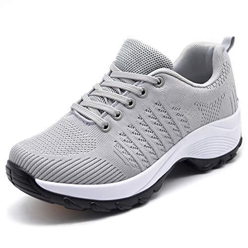 Sports Platform - HKR Women's Lightweight Sports Tennis Shoes Comfortable Platform Walking Gym Sneakers Light Grey 8(ZJW1856qianhui40)