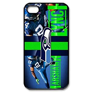 JIUBIE Custom Cover NFL Seattle Seahawks Marshawn Lynch Beast Mote NO.24 for iPhone 4/4S Hard Plastic Case