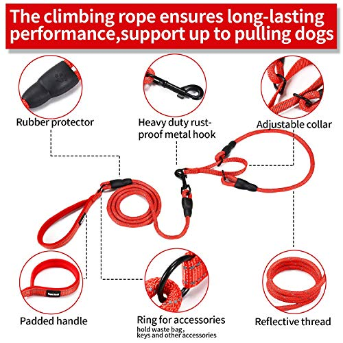 Durable Dog Slip Rope Leash Premium Quality Mountain Climbing Rope Lead, Comfort Traffic Padded Handle Leash and Martingale Training Collar Supports The Strongest Pulling Dogs 3.6 feet (L, Red)