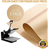 "PowerPress 6 Pack Teflon Sheet for Heat Press Transfer Sheet Non Stick 16'' x 24"" Heat Resistant Craft Mat"