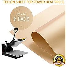 """PowerPress 6 Pack Teflon Sheet for Heat Press Transfer Sheet Non Stick 16'' x 24"""" Heat Resistant Craft Mat"""
