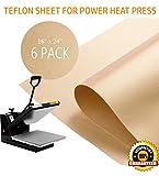 """Arts & Crafts : PowerPress 6 Pack Teflon Sheet for Heat Press Transfer Sheet Non Stick 16'' x 24"""" Heat Resistant Craft Mat"""