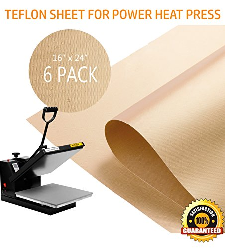 PowerPress 6 Pack Teflon Sheet for Heat Press Transfer Sheet Non Stick 16'' x 24