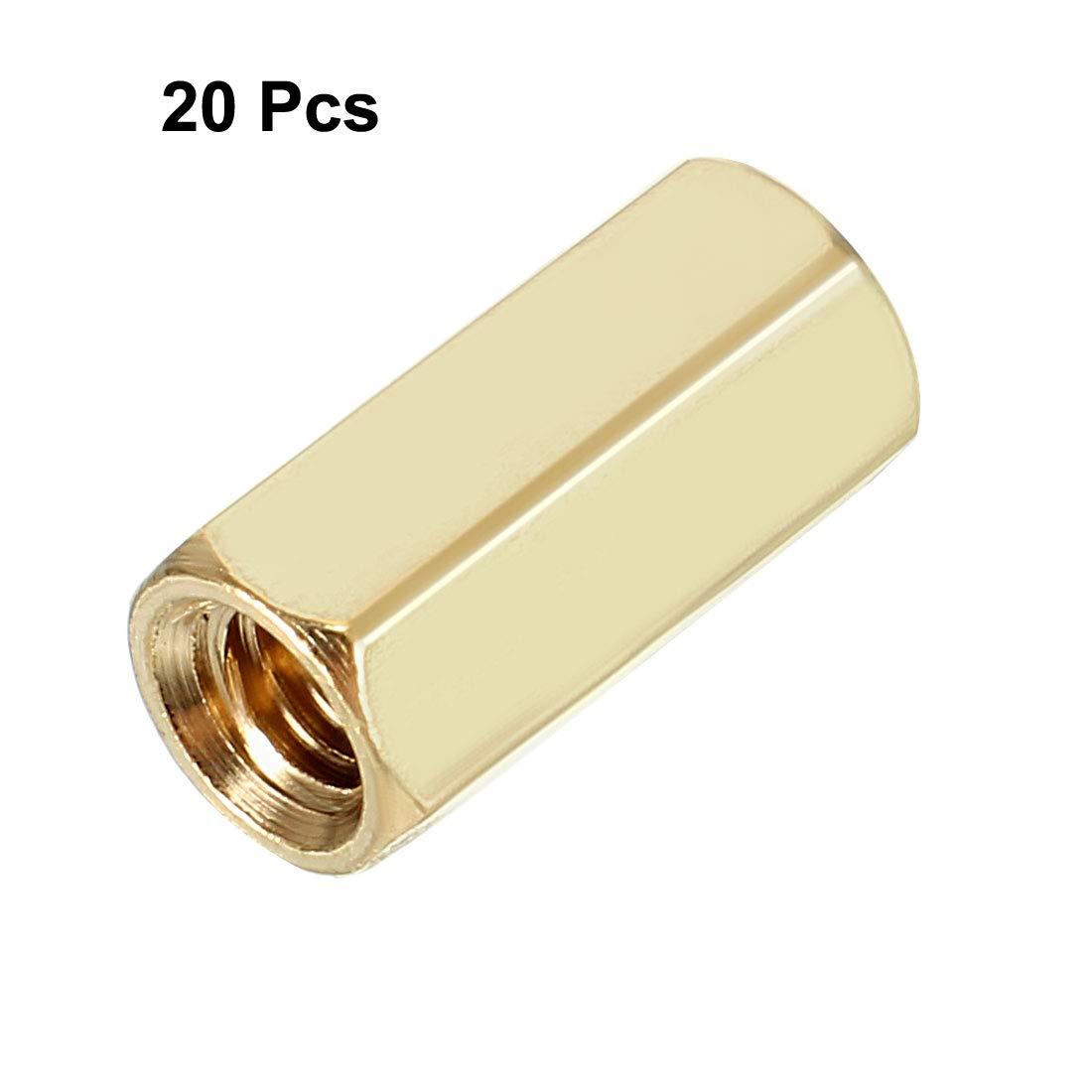 uxcell 15pcs Brass Straight PCB Pillar Female Thread Hex Standoff Spacer M3x5x12mm