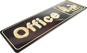 The Office Sign,Self-Adhesive Office Door Sign 9 X 3 Inch,For Buiness and Home Design,Wall or Office Plaque (Gold/Black)