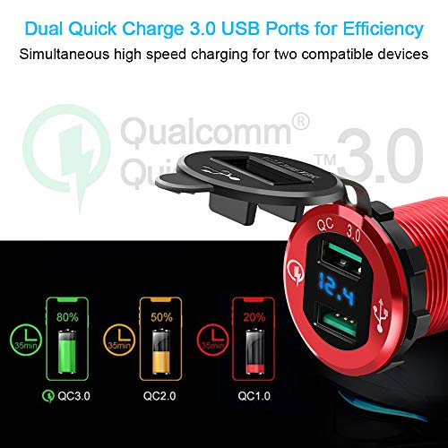 Dual-QC30-USB-Car-Charger-Opluz-Quickly-Charge-48A-USB-Car-Socket-x2Waterproof-Power-Outlet-with-LED-Voltmeter-for-12V24V-Car-Boat-Marine-RV-Motorcycle-Mobile-Build-in-10A-Fuse-DIY-Car-Kit