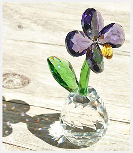 - Qf Crystal Ornament Clover Leaf Figurine Flower Dreams Ornament Paper Weight,Table Centerpiece with Gifts Box(Butterfly Orchid)