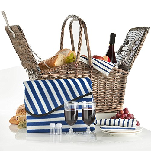 VonShef Deluxe 2 Person Folding Handle Picnic Basket Hamper with Cutlery, Plates, Glasses, Tableware & Fleece Blanket