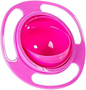 Baby Gyro Bowl Funny 360 Degree Rotate Spill-Proof Bowl with Lid Feeding Without Mess Toy for Toddler Baby Kids Children,Color Rose
