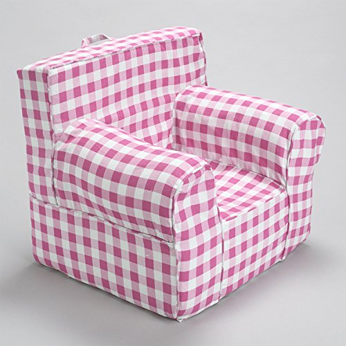 CUB CHAIRS Comfy Small Pink Gingham Kid's Chair with Machine Washable Removable (Gingham Chair)