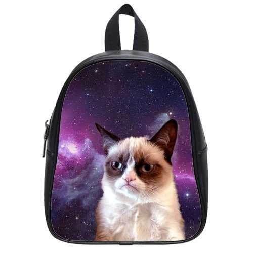 Custom Grumpy Cat Black or White Student's School Bag (Large) Backpack Children Shoulder Bag W-LG135