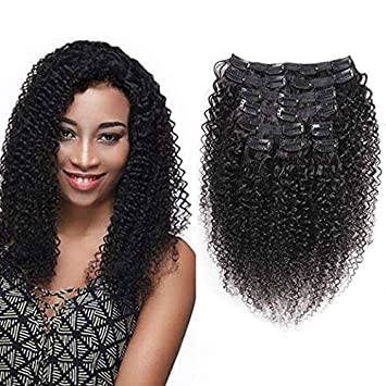 Urbeauty Kinkys Curly Clip In Hair Extensions For Black Women Triple Weft 20 3b 3c Textured African American Afro Clip In Curly Weave Human Hair