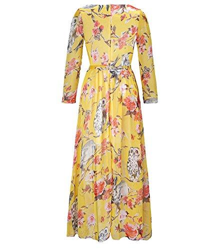 Moollyfox Mujer Vestido Largo Estampado Floral Manga Larga Gasa Vestido Maxi Amarillo 4XL: Amazon.es: Deportes y aire libre