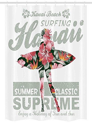 (YCHY Hawaiian Stall Shower Curtain, Tropical Hawaii Hibiscus Surfing Girl Silhouette Surfboard Retro Themed Artprint, Fabric Bathroom Decor Set with Hooks, 54 W x 78 L inches, Coral)