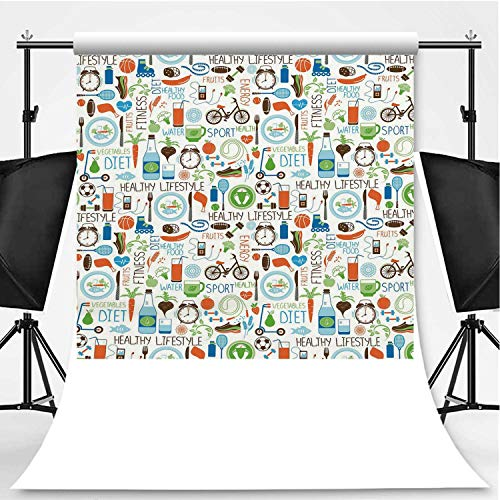 Fitness Photography Background,Sports and Diet Balance Nutrition Bicycle Organic Fresh Food Poultry Juice Vitality for Photography,Pictorial Cloth:5x7ft -  C COABALLA, CM_XZBBJB_Q1024C_01_0250829
