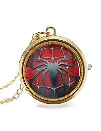 Cool Spider Man Pocket Watch Rotating Spider Pattern Poket Watches for Men Quartz Golden Pocket Watch Gift
