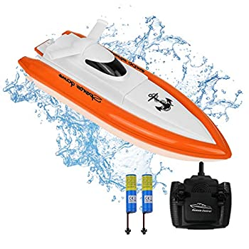 RC Boat for Adults & Youngsters, Excessive-Velocity Digital Distant Management Racing Boat with 2 Rechargable Battery, Indoor/Outside Boats for Swimming pools and Lakes (Solely works in water)