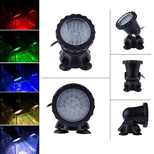 36 LED RGB Changing Submersible Spot Light for Water Garden Pond Fish Tank 110V