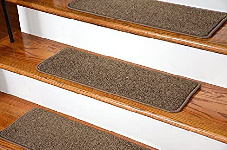 Dean Serged DIY Carpet Stair Treads (13)   Rich Earth Plush 27u0026quot; X