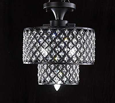 SwanHouse Crystal Chandelier Flush Mount Ceiling Lighting Black Modern KRL 12X14 L3