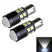 KATUR 2 x White 1156 BA15S P21W 5050 12SMD CREE R5 LED Reverse Backup Light Camper SUV MPV RV Car Replacement Bulb Tail Brake Turn Signal Lamp Bulbs DC 12V 10W