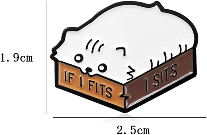 ink2055 Cartoon Cat Enamel English Letter If I Fits I Sits Brooch Pin Badge for Collar Badge Decor