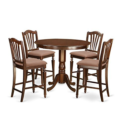 - East West Furniture TRCH5-MAH-C 5 Piece Counter Height Table and 4 Bar Stools Set