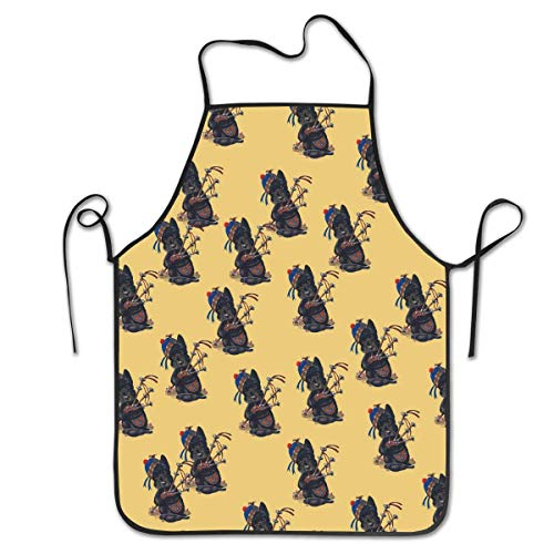 Giemceh Water Resistant Kitchen Apron Long Ties for Baking Wedding Women - Liquid Drop Resistant, Machine Washable Comfortable and Easy Care Aprons - Scottie Dog with Bagpipes Pattern