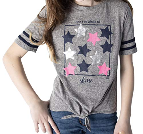 FASHION X FAITH Girls Shirts Tops - Dawn Crew Neck Tie-Front Tees Clothes, Made in USA 1