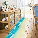 DZT1968 3D Beach Floor Wall Sticker Removable Mural Decals Vinyl Art Living Room Decor