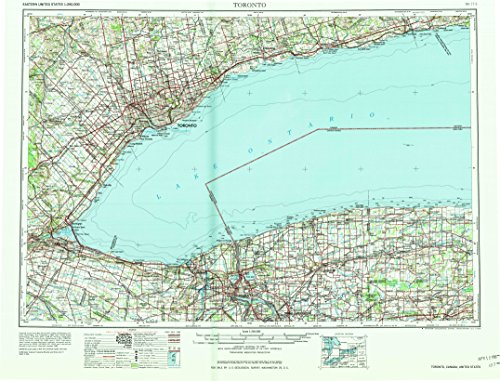 YellowMaps Toronto NY topo map, 1:250000 Scale, 1 X 2 Degree, Historical, 1965, Updated 1965, 22.1 x 28.9 in - Polypropylene
