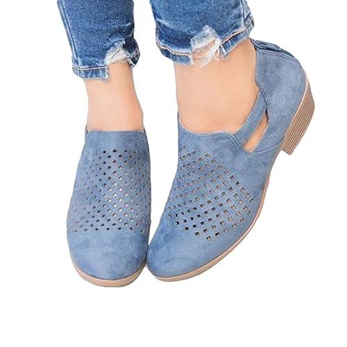 Mujer Mocasines de Gamuza Moda Loafers Casual Zapatos Diseño Hueco 3-5cm Zapatos de Tacón Medio Cremallera Zapatos 5 Colores EU 34-42: Amazon.es: Zapatos y ...