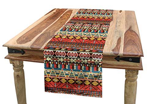 ABAKUHAUS Vistoso Camino de Mesa, Aves Aztecas Flechas, Decorativo para el Comedor o Sala de Estar Facil de Limpiar, 40 x 180 cm, Multico