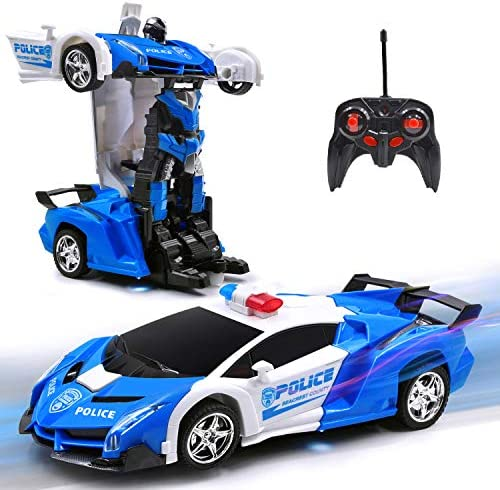 New Police RC Car Transforming Robot Toy for 6-16 Yrs Old Kid Remote Control Vehicle One Button Deformation & 360 Speed Drifting Cool Police Car Toy Best Present for Boys (Police Blue)
